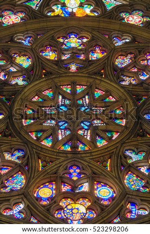Prague, Czechia - November, 21, 2016: stained-glass of St. Vitus Cathedral  in Prague Castle, Czechia