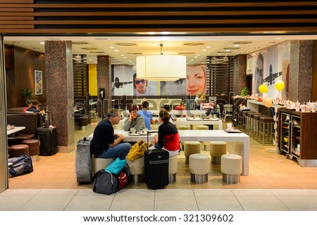 PRAGUE, CZECK REPUBLIC - AUGUST 16, 2015: McDonald's restaurant. McDonald's is the world's largest chain of hamburger fast food restaurants, founded in the United States. - stock photo