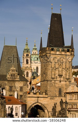 Prague day-view to Charles bridge towers and st. Nicholas church in the background.
