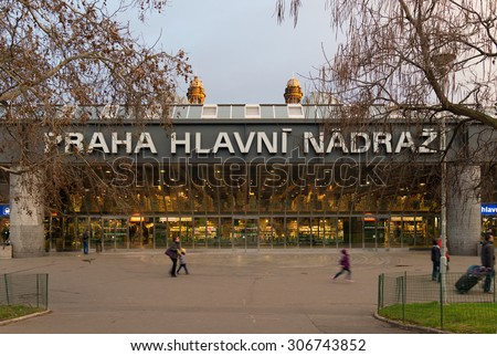 PRAGUE - DECEMBER 25, 2014: Exterior of the prague railway station. The station is an international hub for trains from countries such as Germany, Austria, Poland, Slovakia and Hungary. - stock photo