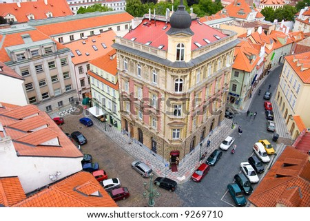 Prague houses. View from high tower.