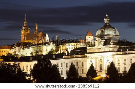Prague in Czech Republic. View of Prague Castle (Hradcany) and the Cathedral. - stock photo