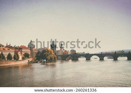 Prague in the fall. Charles Bridge sunny day