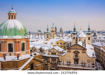 Prague in winter, one of the most beautiful city in Europe - stock photo