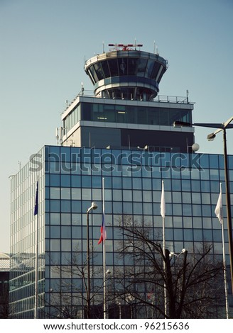 Prague international airport - seen in the morning - stock photo
