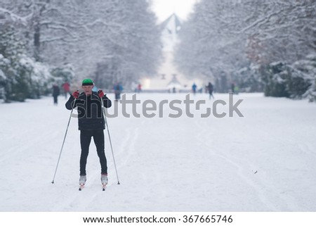 PRAGUE - JANUARY 18: Skiers enjoy good snow conditions in the Hvezda Game Preserve in Prague, Czech Republic on January 18, 2016.