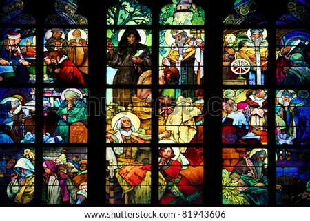 PRAGUE - July 18, 2010: Stained glass drawn by Alfons Mucha in 1931 for the St Guy's cathedral of the castle of Prague on July 18, 2010 in Prague, Czech Republic. - stock photo