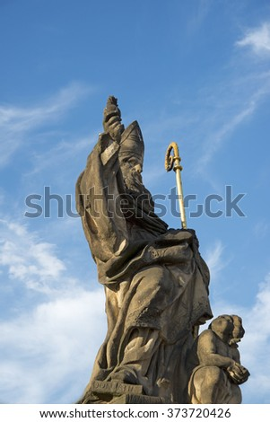 Prague- july 22, 2014: Statue along the North side of Charles Bridge (Karluv Most), Prague, Czech Republic