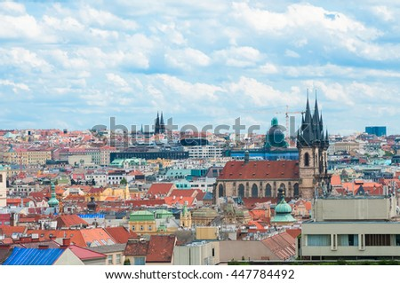 Prague landscape with Church of Our Lady