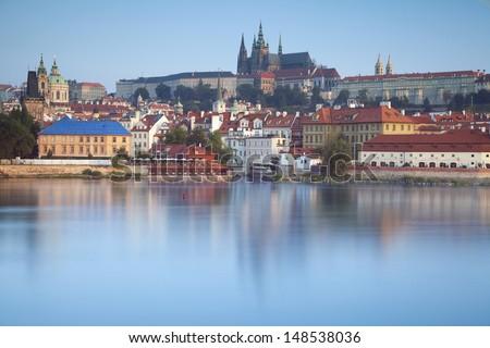 Prague. Long exposure day shot of Prague, capital city of Czech Republic. - stock photo