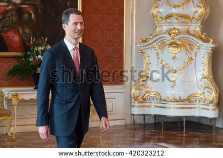 PRAGUE - MAY 13: Hereditary Prince of Liechtenstein Alois during his visit in Prague, Czech republic, May 13, 2016. - stock photo
