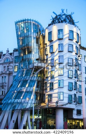 PRAGUE - MAY 03 2016: Modern building, also known as the Dancing House, designed by Vlado Milunic and Frank O. Gehry stands on May 03, 2016 in Prague, Czech Republic  - stock photo