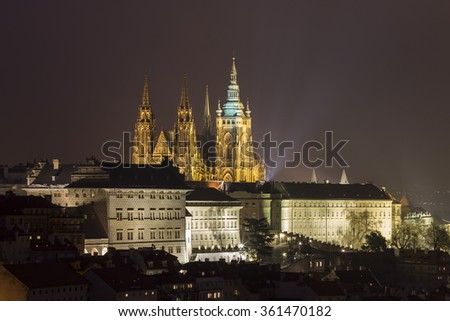 Prague Night Cityscape Photo with St. Vitus Cathedral