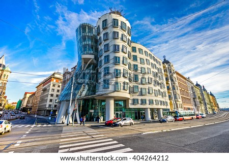 PRAGUE - NOVEMBER 08, 2015: Modern building, also known as the Dancing House, designed by Vlado Milunic and Frank O. Gehry stands on the Rasinovo Nabrezi. Photographed on September 13, 2012 in Prague. - stock photo