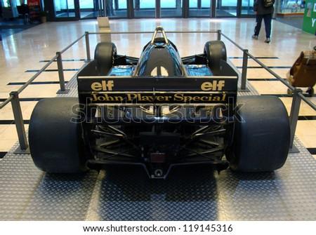 PRAGUE - OCTOBER 16: Exhibition of historic Formula 1 cars in Prague on October 16, 2009. (Lotus JPS 98T, 1986) Famous black Lotus of Ayrton Senna. - stock photo