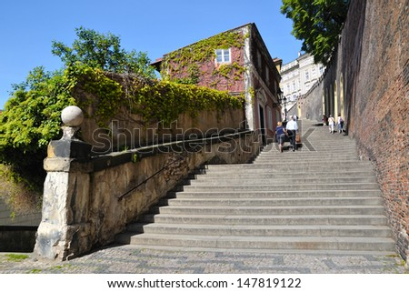 Prague - Old Castle Stairs - stock photo