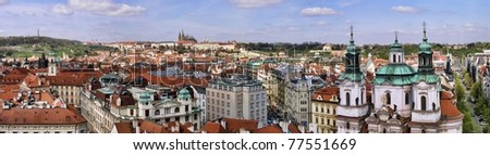 Prague Old Town panoramic photo view from Astronomical Clock - stock photo