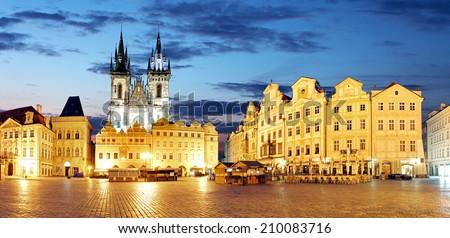 Prague Old town square at night - panorama - stock photo