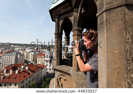 Prague, Old Town Square, Town Hall with Town Hall Tower, view from tower - stock photo
