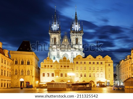 Prague Old town square, Tyn Cathedral