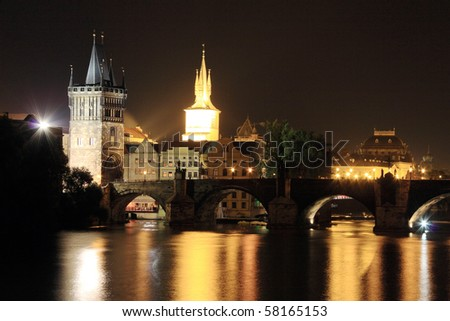 Prague Old Town with the Bridge Tower and Charles Bridge in the Night