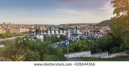 Prague panorama city skyline, Czech Republic - stock photo