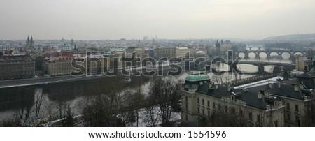 Prague panorama on a misty day. - stock photo