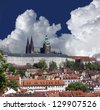 Prague - Prague Castle, St. Vitus Cathedral and Lesser Town - stock photo