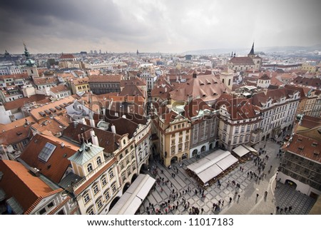 Prague roof tops - stock photo