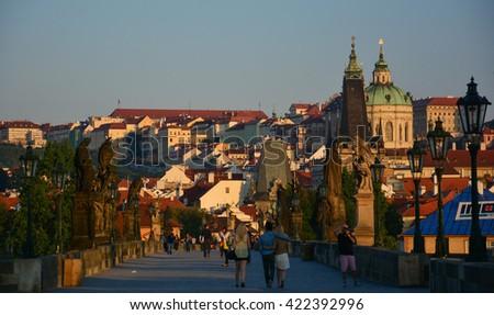 Prague's Charles Bridge at dawn - stock photo