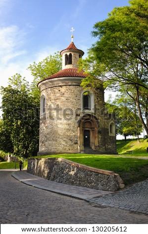 Prague's oldest Romanesque structure - St Martin Rotunda in Vysehrad - stock photo