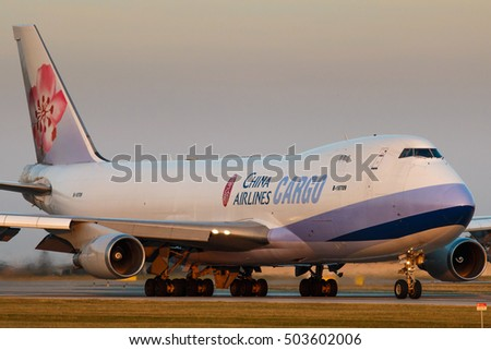 PRAGUE - SEPTEMBER 11: China Airlines Cargo Boeing B747 airliner take off from PRG on September 11, 2016 in Prague,Czech Republic. It Is flag carrier of the Republic of China-commonly known as Taiwan