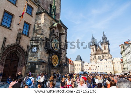 PRAGUE - SEPTEMBER 03: historical City Hall Tower with the famous astromical clock and unidentified people , September 03, 2014 in Prague. The historic city centre is UNESCO protected - stock photo