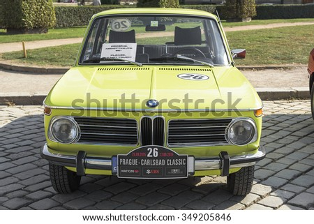 PRAGUE - SEPTEMBER 25: Retro car BMW on exhibition: Prague - Carlsbad Classic. In Prague on September 25, 2015.  - stock photo
