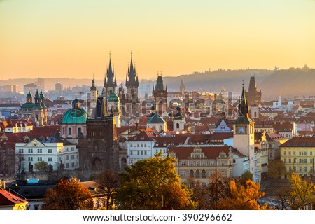 Prague skyline at sunrise. Czech Republic - stock photo