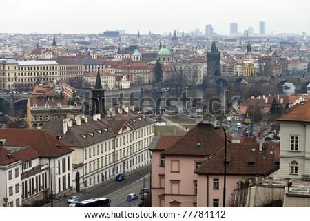 Prague skyline with Charles bridge, Czech Republic - stock photo