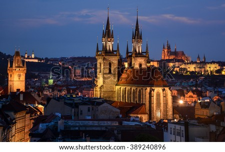 Prague skyline with Tyn Church in the foreground