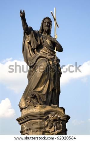 Prague - st. John the Baptist by Josef Max, 1857 , look from Charles bridge - stock photo