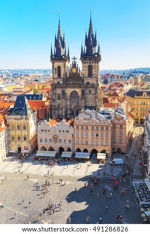 Prague the capital of the Europe state of the Czech Republic. Architecture cityscape of top view of the city. Old Town Square and hall