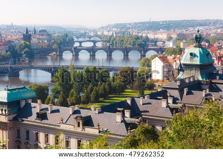 Prague the capital of the Europe state of the Czech Republic. Cityscape of the city and Vltava river