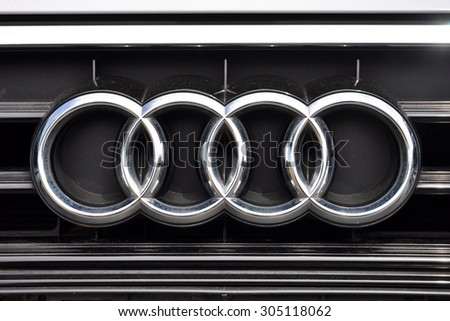 PRAGUE, THE CZECH REPUBLIC, 02.08.2015 - detail of logo Audi in car store in Prague - stock photo