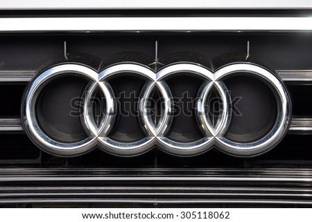 PRAGUE, THE CZECH REPUBLIC, 02.08.2015 - detail of logo Audi in car store in Prague