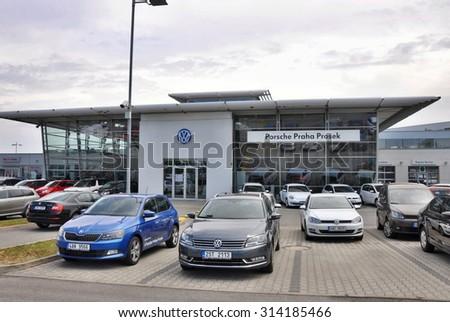PRAGUE, THE CZECH REPUBLIC, 02.08.2015 - Volkswagen car store in Prague - stock photo
