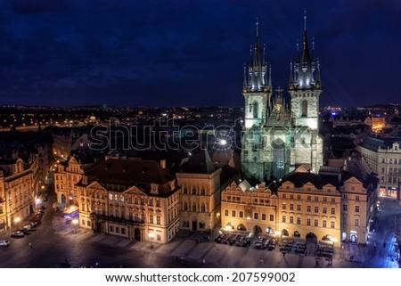 Prague Town Hall at night. - stock photo