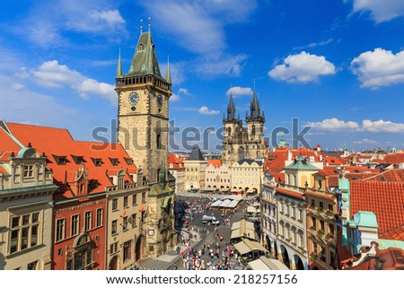 Prague Tyn Cathedral & Clock Tower, Czech Republic - stock photo