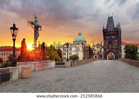 Prague View from Charles Bridge - stock photo
