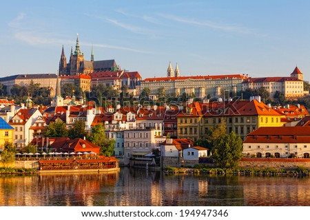 Prague, view on Gradchana early in the morning - stock photo