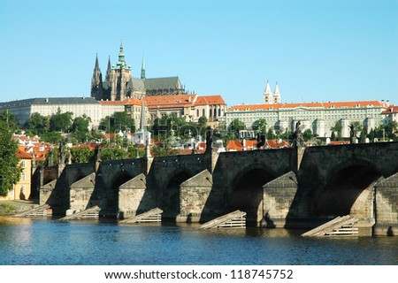 Prague. View on St. Vitus cathedral and Charles bridge - stock photo