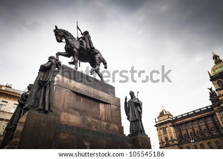 Prague, Wenceslas Square: view of the statue of St. Wenceslas and the National Museum - stock photo