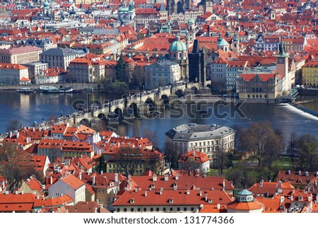 Prague with famous Charles Bridge in Czech Republic - stock photo